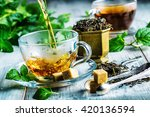 cup of hot tea cane sugar dry... | Shutterstock . vector #420136594