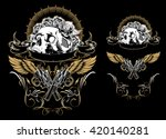 skull with guns and roses | Shutterstock .eps vector #420140281