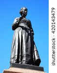 Small photo of London, UK, April 13, 2014 : Bronze memorial statue of Florence Nightingale in Waterloo Place which was unveiled in Waterloo Place in 1915