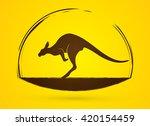 kangaroo jumping graphic vector.