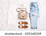 white lace top  light blue... | Shutterstock . vector #420160249