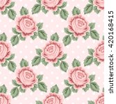 seamless pattern with pink... | Shutterstock . vector #420168415