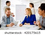 business people having a board... | Shutterstock . vector #420175615