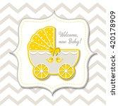 yellow vintage stroller on... | Shutterstock .eps vector #420178909