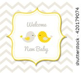 baby shower card with two cute... | Shutterstock .eps vector #420179074