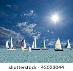 yacht under a sparkle sun   Shutterstock . vector #42023044