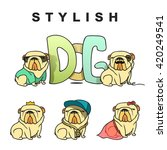 dogs characters doodle sticker... | Shutterstock .eps vector #420249541