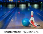 shoes, bowling pin and ball for bowling game, copy space