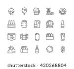 Stock vector simple set of beer related vector line icons contains such icons as barrel six pack keg 420268804