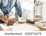 architecture drawing on... | Shutterstock . vector #420271675