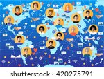 world map with people icons.... | Shutterstock .eps vector #420275791