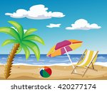 the sea and the beach | Shutterstock .eps vector #420277174