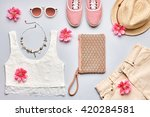 street style. summer fashion... | Shutterstock . vector #420284581