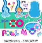 pool party vector design...   Shutterstock .eps vector #420312529