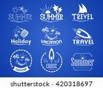 set of summer logos on summer... | Shutterstock . vector #420318697