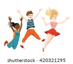 jumping children. vector... | Shutterstock .eps vector #420321295