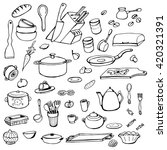set of hand drawn cookware....   Shutterstock .eps vector #420321391