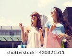 asian woman shopping discounted ... | Shutterstock . vector #420321511