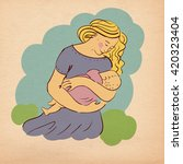 illustration super mother with... | Shutterstock . vector #420323404
