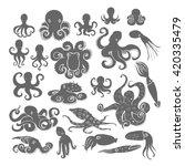 hand drawn octopus set. black... | Shutterstock .eps vector #420335479