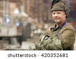 portrait factory senior welder... | Shutterstock . vector #420352681