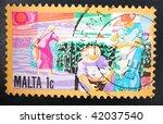 malta   circa 1991  a stamp... | Shutterstock . vector #42037540