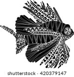 hand drawn ethnic fish isolated ... | Shutterstock .eps vector #420379147