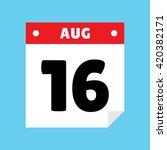 calendar icon flat august 16