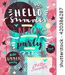 hello summer beach party.... | Shutterstock .eps vector #420386287