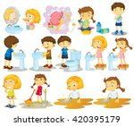 girls and boys doing chores... | Shutterstock .eps vector #420395179