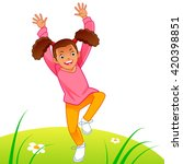 little girl running on the lawn | Shutterstock .eps vector #420398851