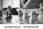 hand of chess player moving the ... | Shutterstock . vector #420403339