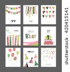 set of birthday greeting cards | Shutterstock .eps vector #420415141