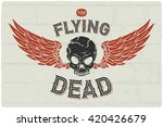 angry flying skull head with... | Shutterstock .eps vector #420426679