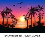 summer beach night palm... | Shutterstock .eps vector #420426985