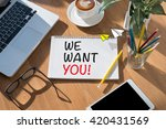 we want you  open book on table ... | Shutterstock . vector #420431569