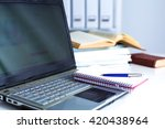 office table with blank notepad ... | Shutterstock . vector #420438964