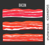three different sliced bacon.... | Shutterstock .eps vector #420440935