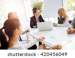 business people having a board... | Shutterstock . vector #420456049