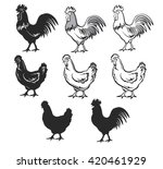 chickens set vector... | Shutterstock .eps vector #420461929
