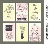 a set of cards with floral... | Shutterstock . vector #420467254