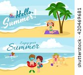 fun at summer beach. happy... | Shutterstock .eps vector #420469681