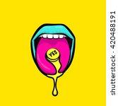 women's open mouth in pop art... | Shutterstock .eps vector #420488191