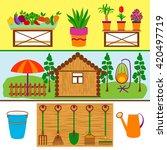 gardening tools and vegetables... | Shutterstock .eps vector #420497719