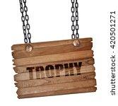 trophy  3d rendering  wooden...