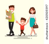 happy family. dad mom and son...   Shutterstock .eps vector #420505597