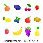 set of tropical fruit.  kiwi ... | Shutterstock .eps vector #420516715