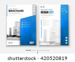 Blue Corporate business annual report brochure flyer design. Leaflet cover presentation. Catalog with Abstract geometric background. Modern publication poster magazine, layout, template. A4 size | Shutterstock vector #420520819