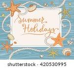 hand drawn seastars  rope ... | Shutterstock .eps vector #420530995