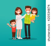 happy young family. vector... | Shutterstock .eps vector #420534874